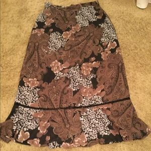 Sag Harbor Size 8 Skirt - Brown Paisley